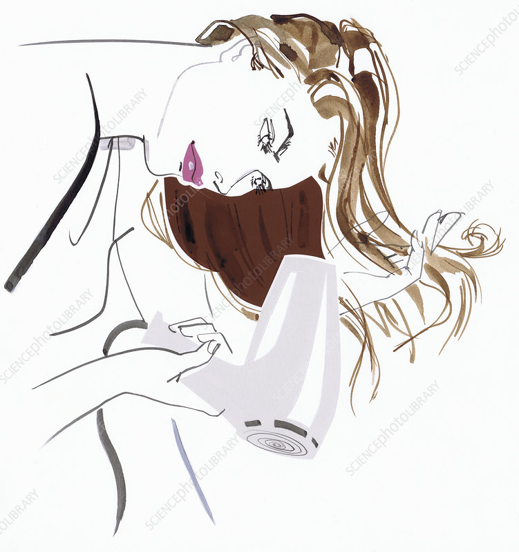 Beautiful woman blow drying long hair, illustration