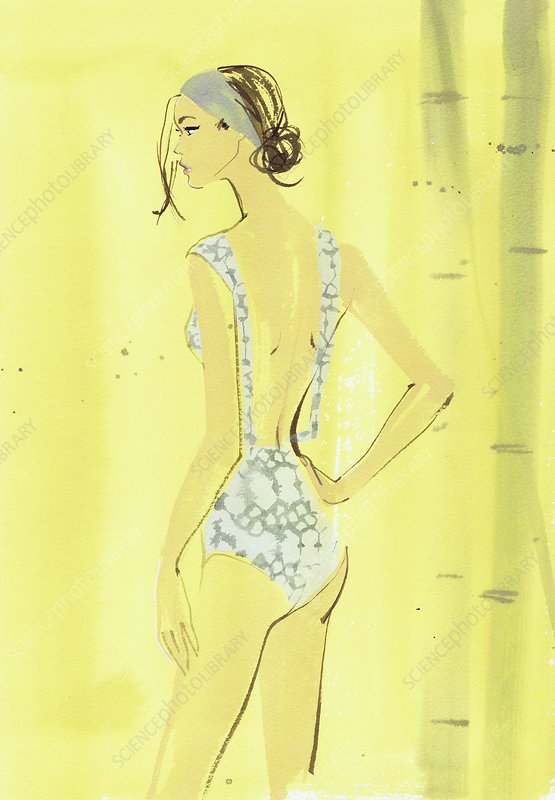 Beautiful young woman wearing swimming costume, illustration
