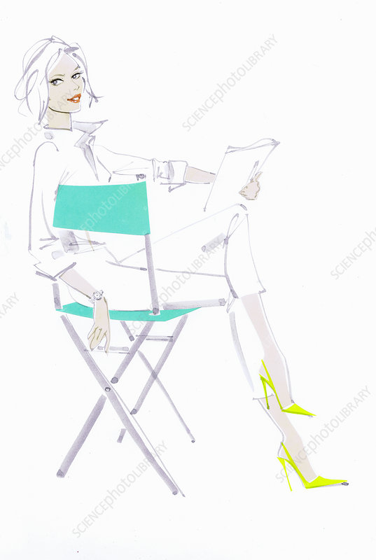 Woman reading script in director's chair, illustration