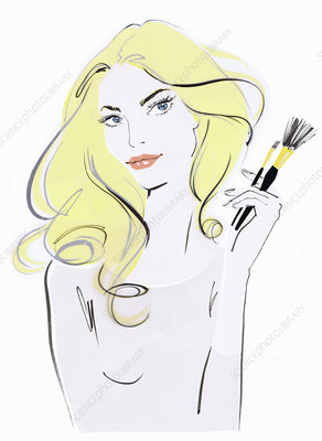 Beautiful woman holding makeup brushes, illustration