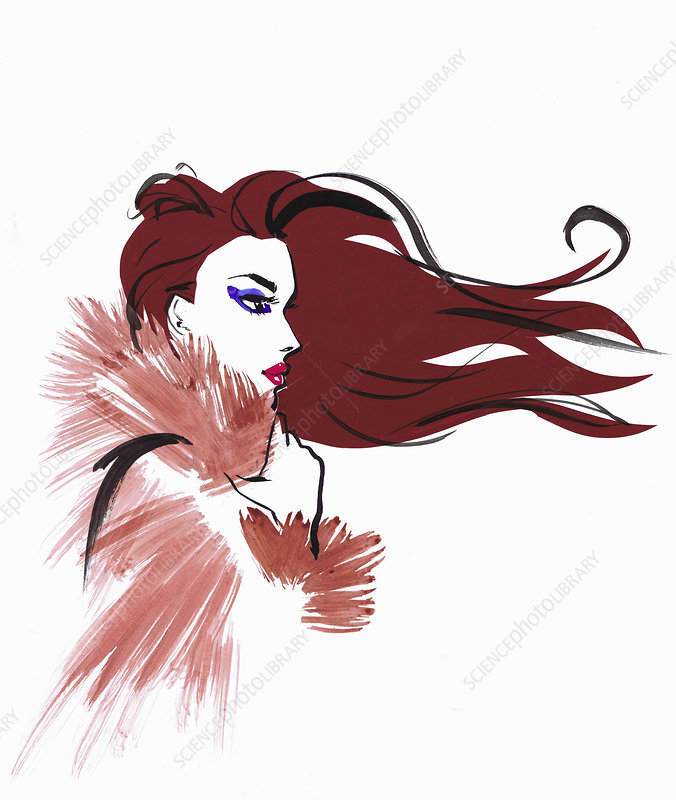 Beautiful woman with windswept red hair, illustration