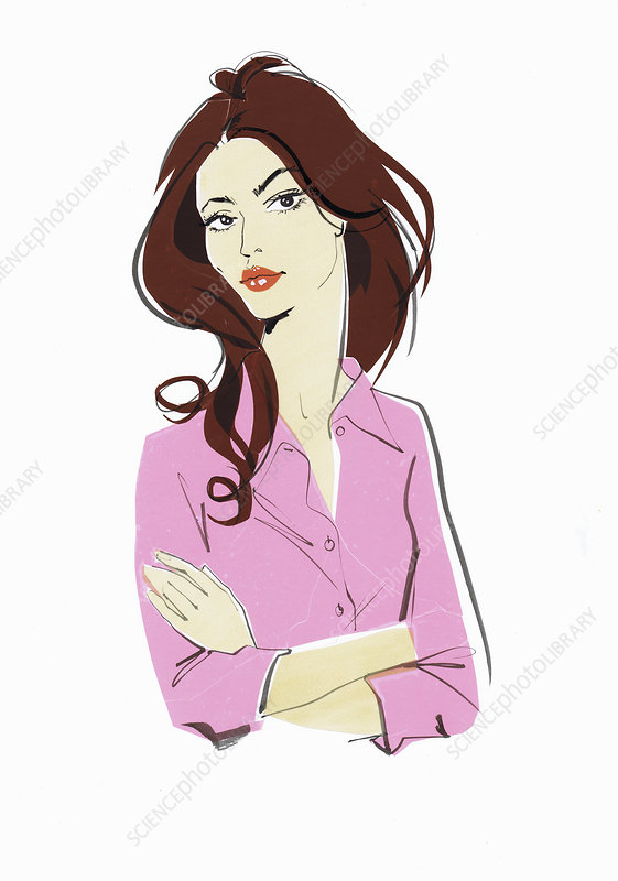Woman with arms crossed and disapproving look, illustration