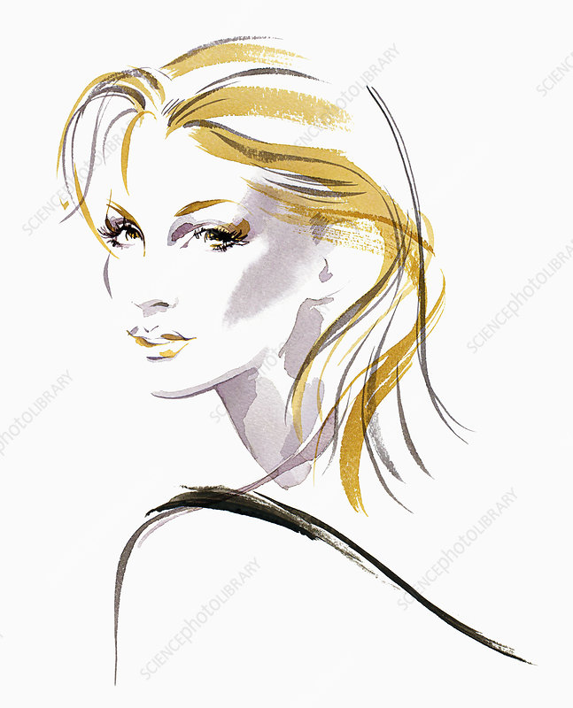 Beautiful woman with blonde hair, illustration