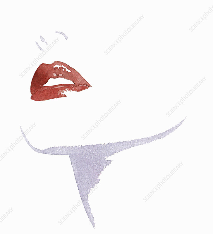 Cropped close up of woman wearing red lipstick, illustration