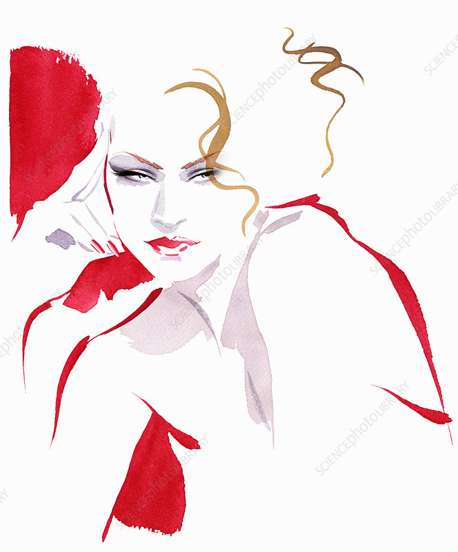Beautiful contemplative woman, illustration