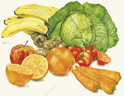 Pile of fresh fruit and vegetables, illustration