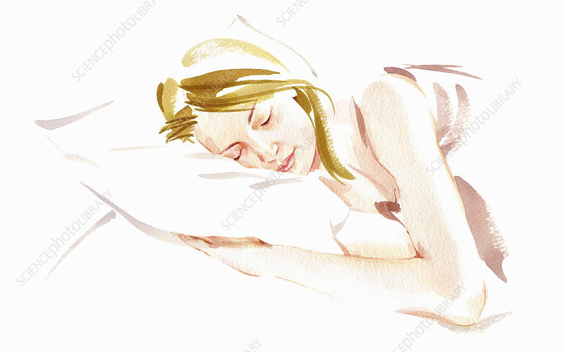 Woman sleeping in bed, illustration