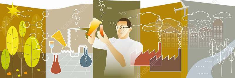 Scientist researching biofuel, illustration
