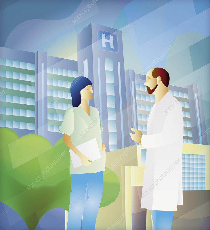 Doctor and nurse in discussion, illustration