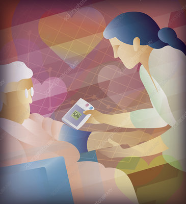 Nurse taking blood pressure of elderly patient, illustration