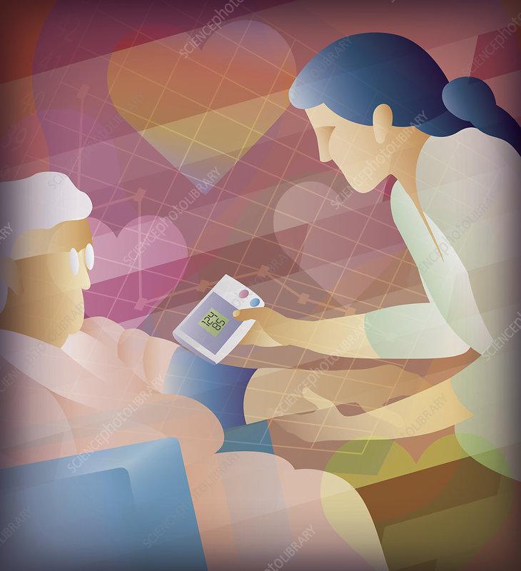 Nurse taking blood pressure of elderly patient, illustration