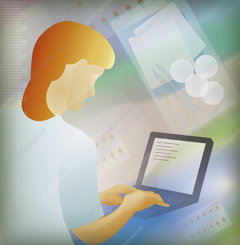 Pharmacist using laptop, illustration
