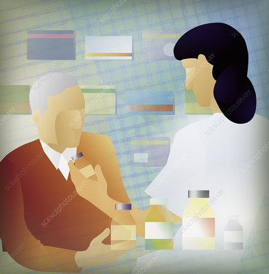 Doctor prescribing medicine for patient, illustration