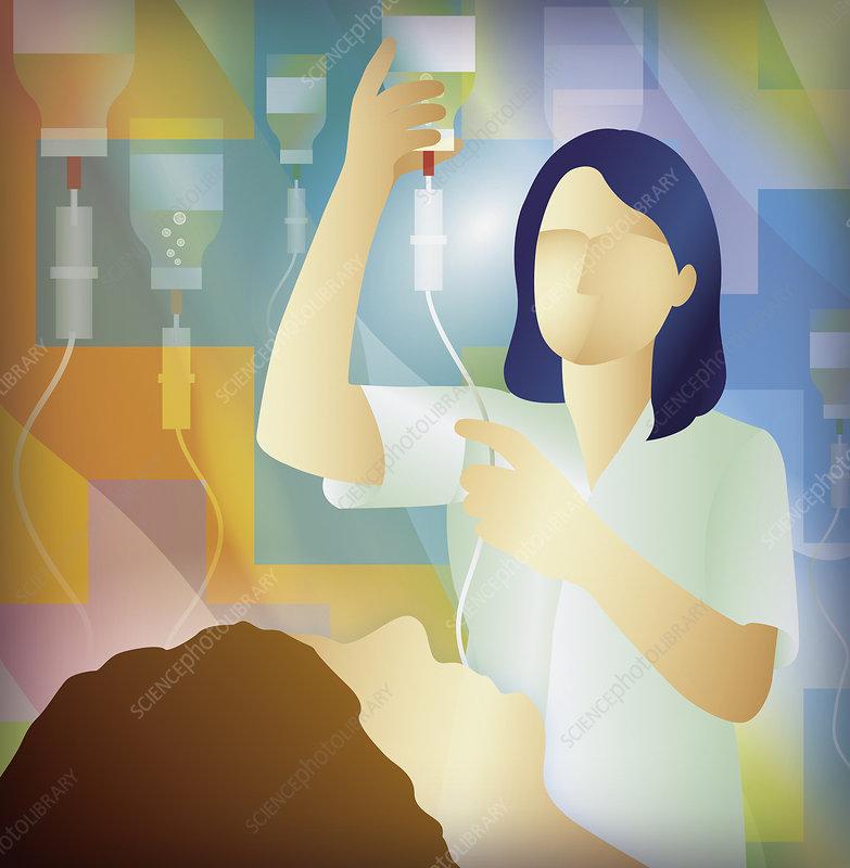 Nurse checking intravenous drip for patient, illustration