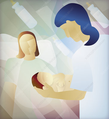 Midwife handing newborn baby to mother, illustration