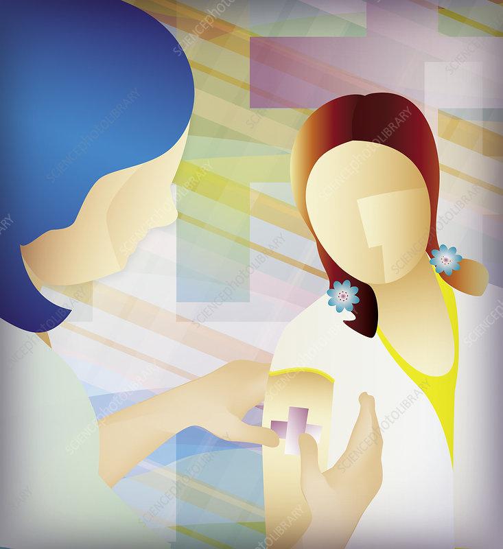 Nurse putting sticking plaster on girl's arm, illustration