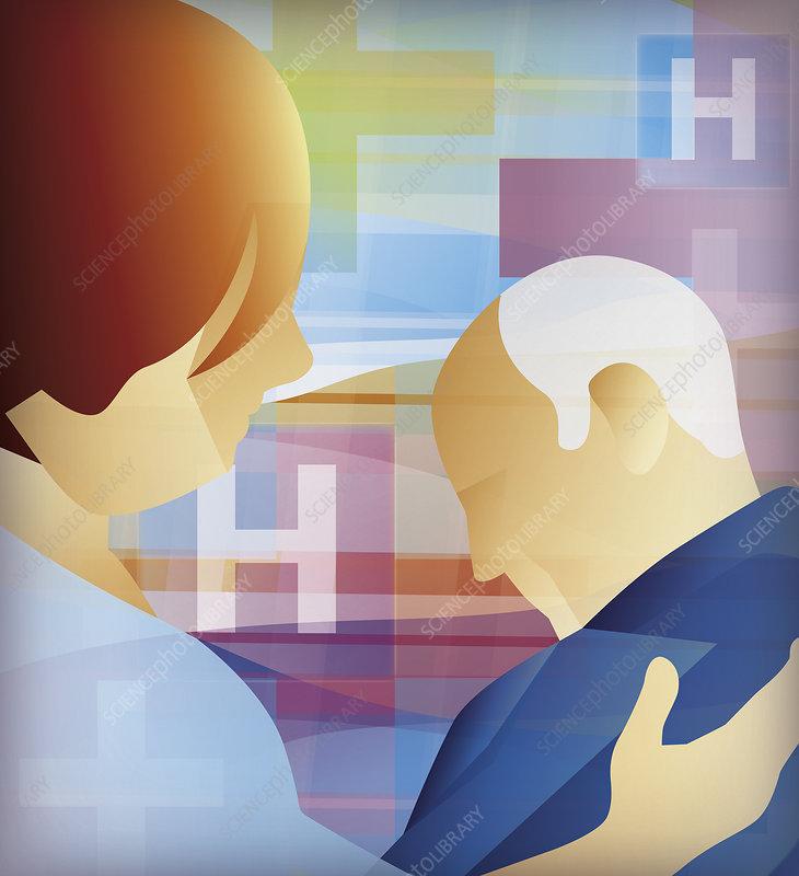 Nurse helping elderly patient, illustration
