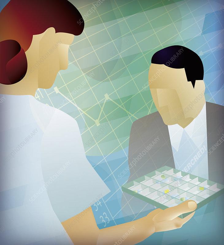 Nurse handing patient medication, illustration