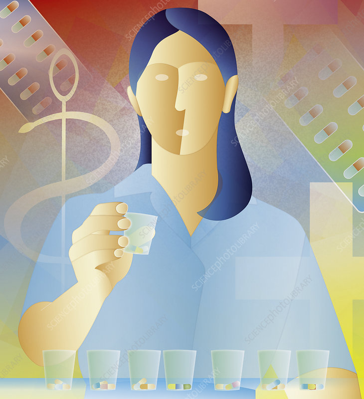 Nurse organizing medicine by dose, illustration