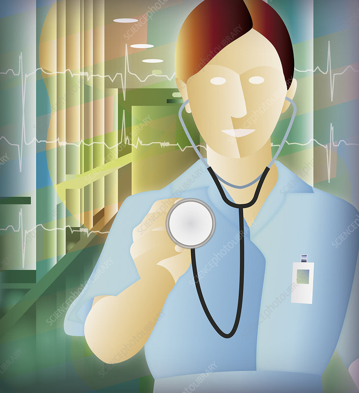 Nurse approaches with stethoscope, illustration