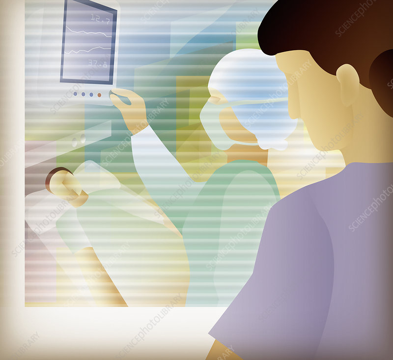 Woman in hospital isolation unit, illustration