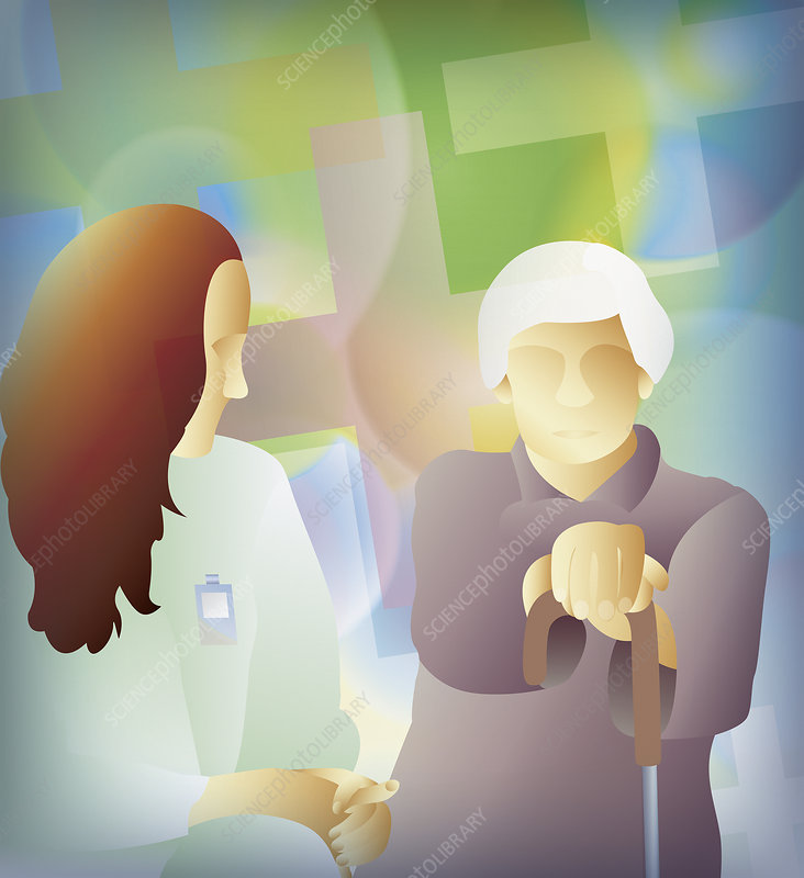 Nurse talking to elderly woman, illustration