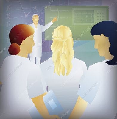 Patient as doctor explains test results, illustration