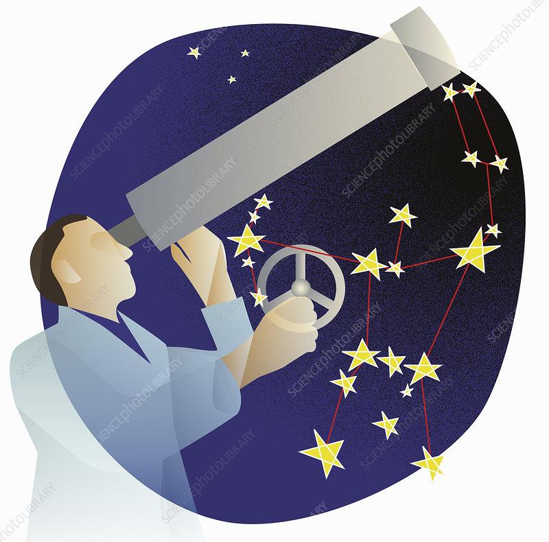 Astronomer stargazing, illustration