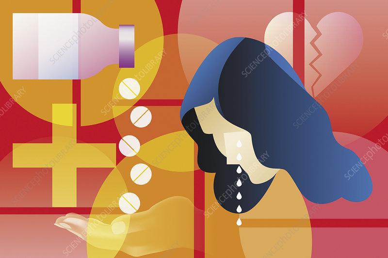 Woman taking pills for broken heart, illustration