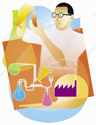 Industrial chemist doing science experiment, illustration