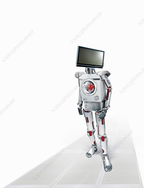 Robot of intelligent domestic appliances, illustration