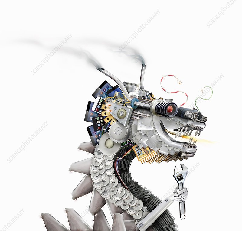Chinese dragon made from machine parts, illustration