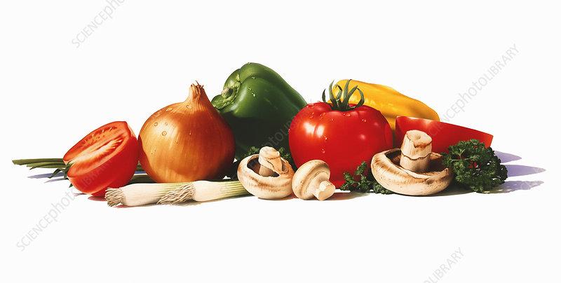 Pile of fresh vegetables, illustration