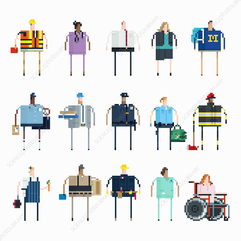 Pixelated people with different jobs in USA, illustration