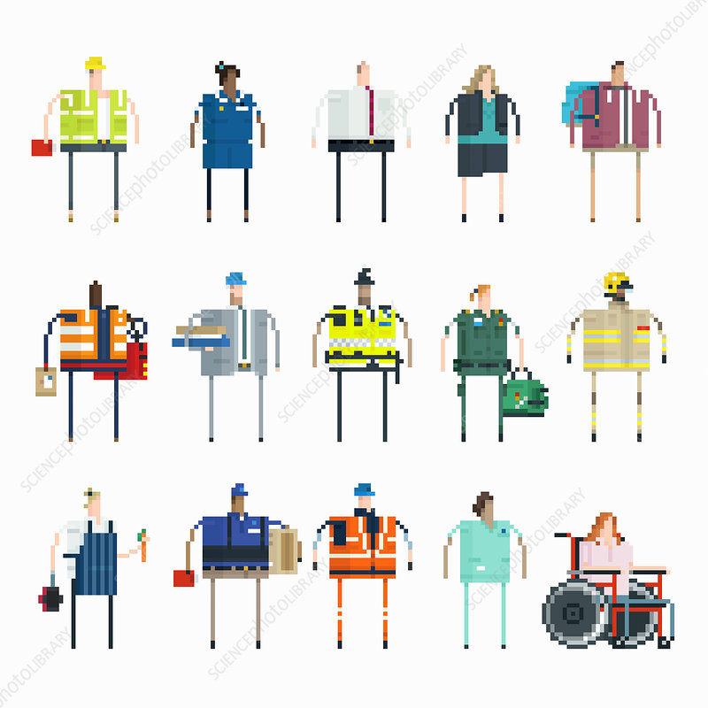 Pixelated people with different jobs in UK, illustration