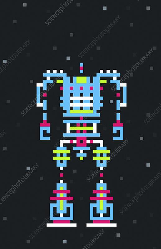 Pixelated robot, illustration