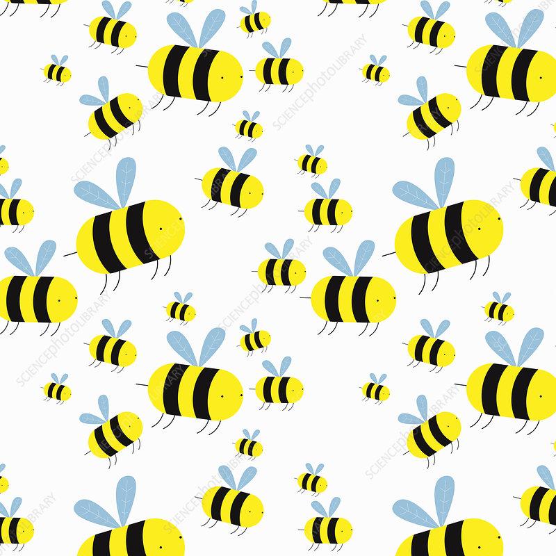 Swarm of cartoon bees, illustration