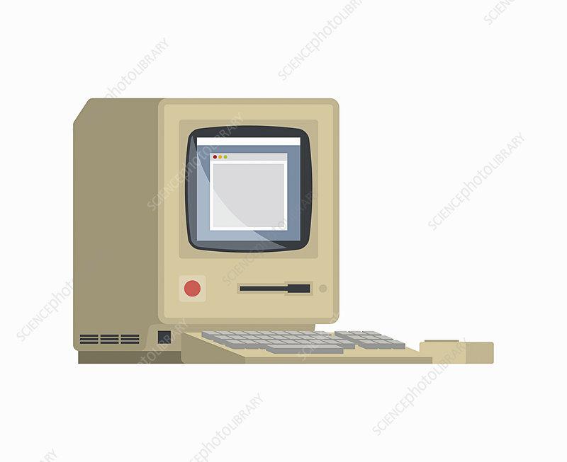 Retro desktop computer, illustration
