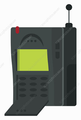 Retro mobile phone, illustration