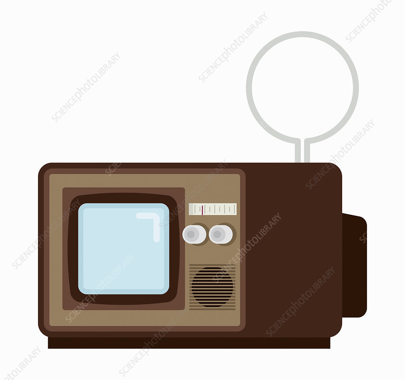 Retro television with indoor aerial, illustration