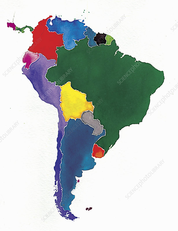 Map of South America, illustration