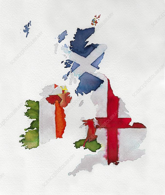 Map of UK and Ireland, illustration