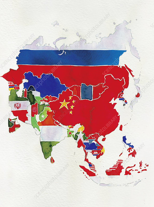 Flag map of Asia, illustration
