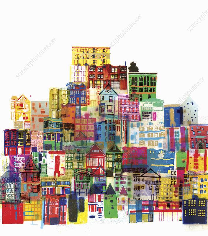 Bright multicoloured buildings, illustration