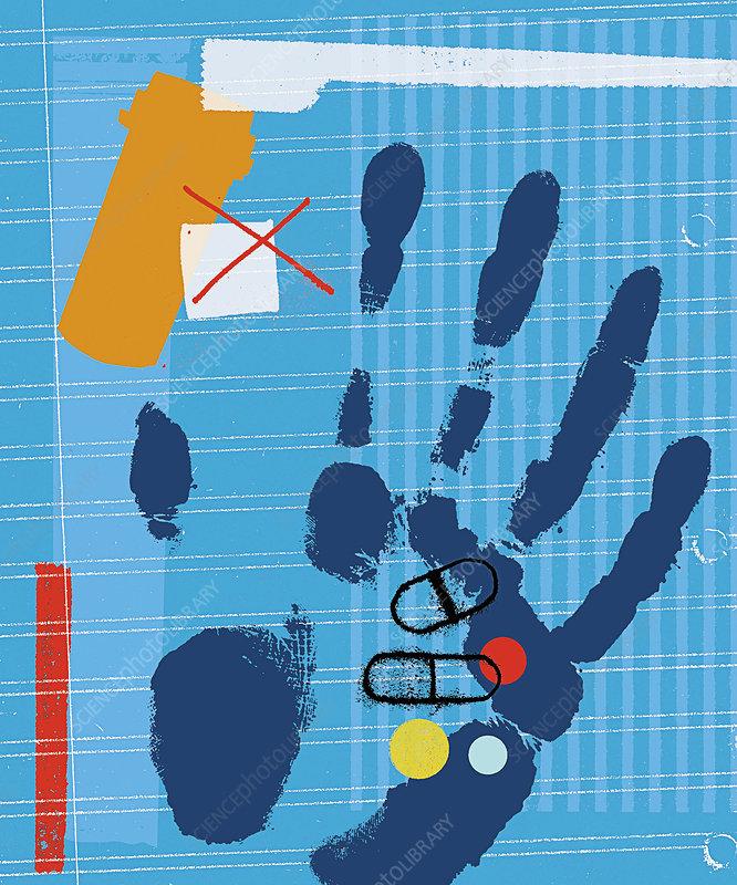 Handprint holding medicine, illustration