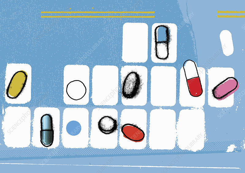 Various pills in pill organizer, illustration