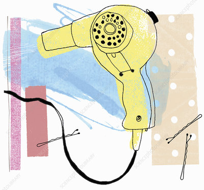 Old-fashioned hair dryer and hair pins, illustration