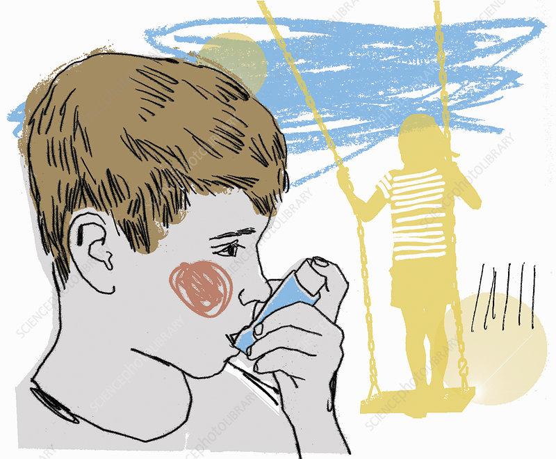 Boy using asthma inhaler in playground, illustration
