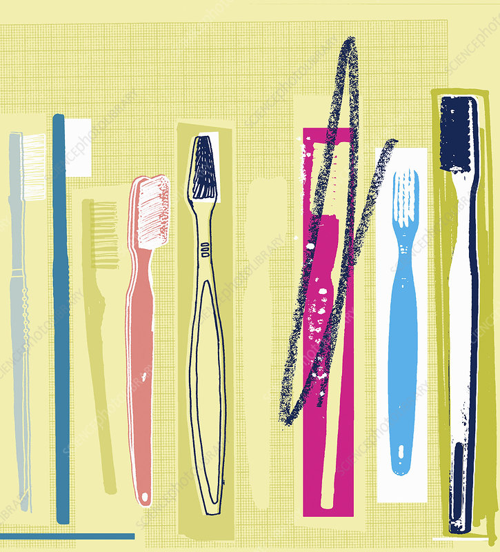Row of different toothbrushes, illustration