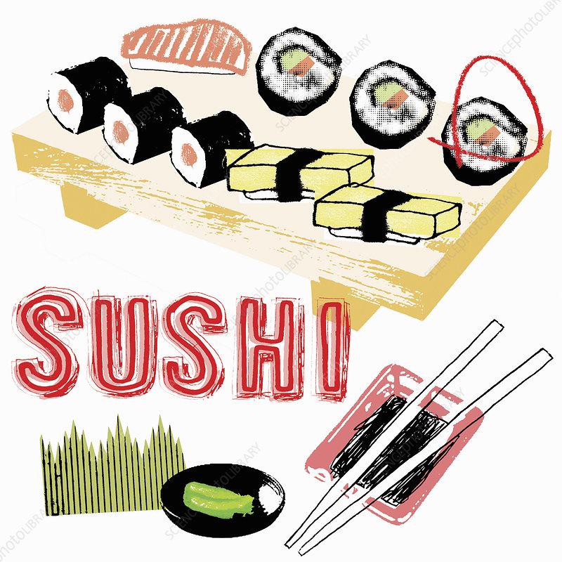 Sushi and chopsticks, illustration